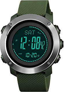 TONSHEN Unisex Multifunction Outdoor Sport Watch for Men and Women LED Electronic Altimeter Thermometer Pedometer Calories Double Time Alarm Digital Watch with Rubber Band (Steel Green) …