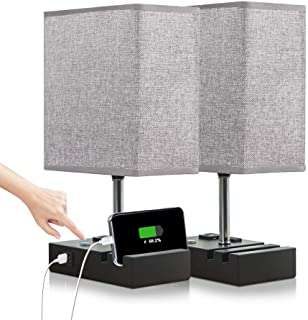 Lifeholder Touch Lamp with 2 Phone Stands,Dimmable USB Lamp Include 2 Warm Edison Bulbs,..