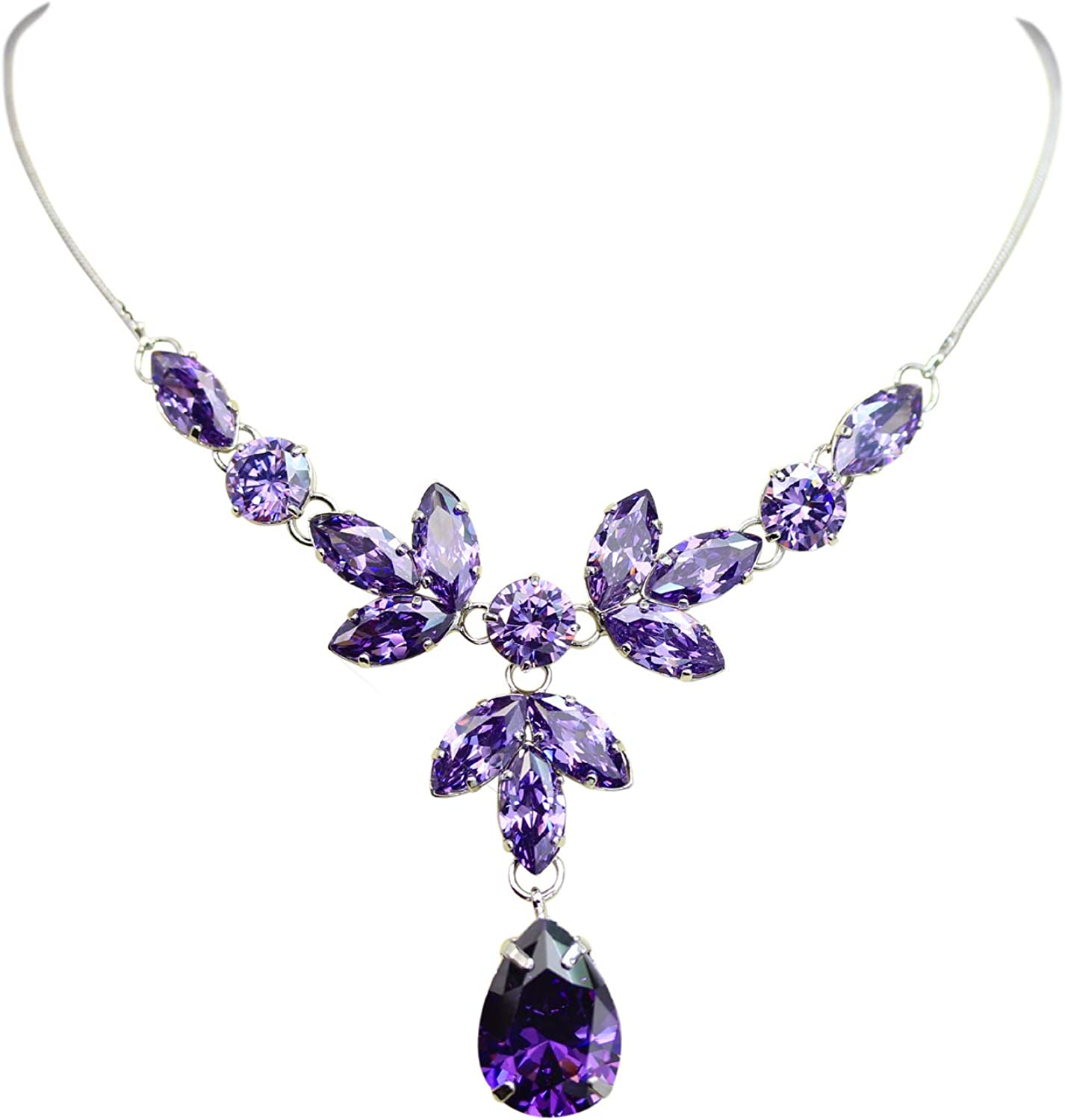 Faship Gorgeous Cubic Zirconia CZ Crystal Floral Necklace Earrings Set