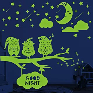 Glow in The Dark Stars Moon Owls Wall Stickers, 356 PCS Glowing Stars for Ceiling, Wall Decals for Kids Rooms, Baby Kids B...