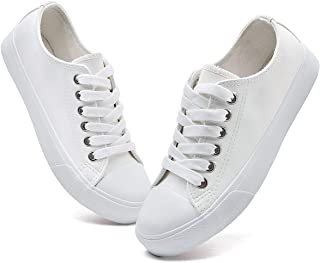 Womens PU Leather Sneakers Low Cut Lace Ups White Shoes
