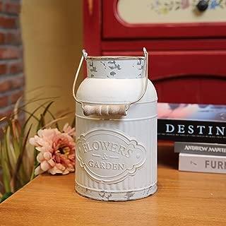 VANCORE Shabby Chic Metal Jug Vase Pitcher White Milk Can Flower Holder for Home Decoration