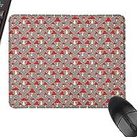 """パターン化されたマウスパッドのキノコかわいい水玉模様の背景を持つキノコのキノコのパターン漫画の毒キノコが正確に制御可能、15.7"""" x35.4""""、トープクリームレッド"""