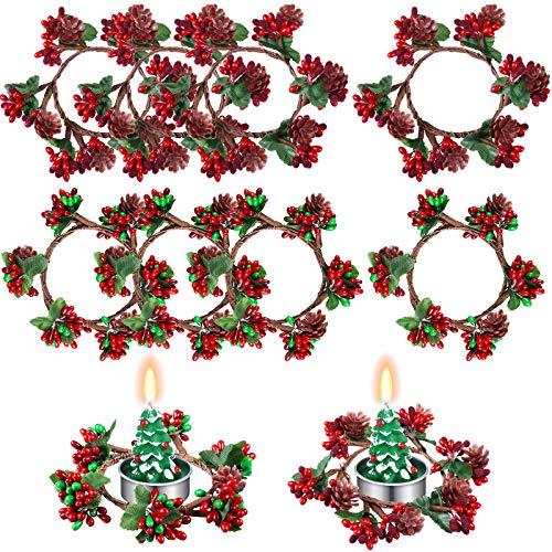 8 Piezas Portavelas Votivas de Navidad Anillos de Velas de Navidad Coronas de Anillos de Vela de Bayas Artificiales Rojas con Piñas para Pilares Decoración Navideña de Centro de Mesa