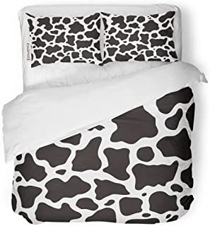 SanChic Duvet Cover Set Cowhide Black and White Cow Pattern Animal Skin Decorative Bedding Set with Pillow Case Twin Size