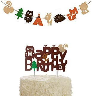 BUSOHA Happy Birthday Forest Animal Decoration - Woodland Creatures Theme Cake Topper and Banner Forest Animal Friends for Birthday Wedding Party Baby Shower Décor