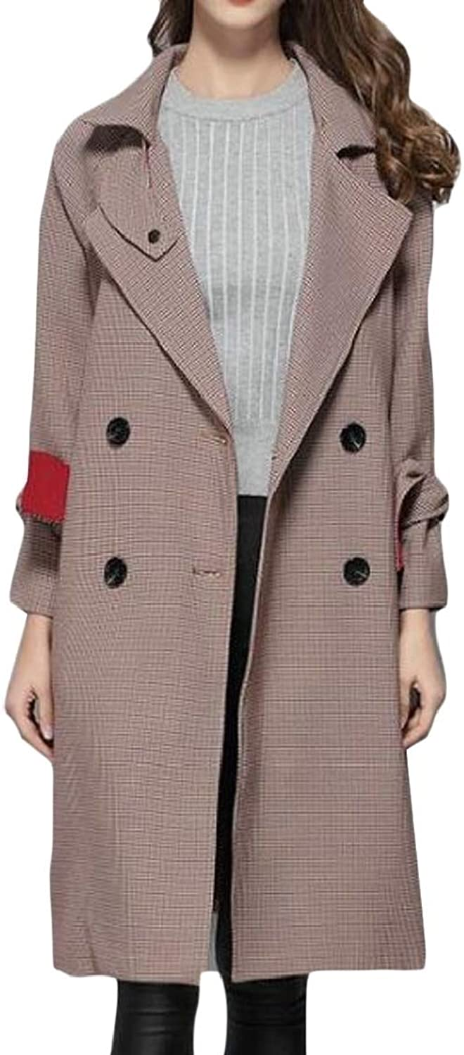 PandapangCA Women DoubleBreasted Belted Houndstooth Notched Lapel Casual Trench Coat