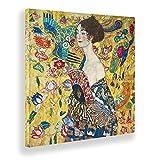 Giallobus - Cuadro - Gustav Klimt - Dama con Abanico - Lienzo - 70x70 - Listo para Colgar - Cuadros Modernos para el hogar