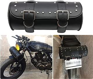 KYN Universal Motorcycle Handlebar Sissy Bar Side SaddleBag Fork Roll Barrel Bag PU Leather Storage Front Rear Tool Bags for Harley Yamaha Honda Kawasaki Suzuki Ducati KTM