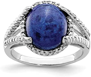 925 Sterling Silver Lapis Diamond Band Ring Gemstone Fine Jewelry For Women Gift Set