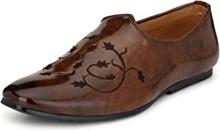 Prolific Men's Brown Patent Casual/Ethnic Loafers