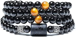 Natural Crystal Obsidian Bead Tibetan Silver Tiger Eye Stone Bracelet Ladies 6mm Men 8mm Multi Circle Phoenix Dragon Totem Jewelry