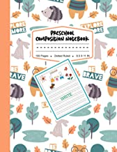 Preschool Composition Notebook: Cute Bear & Rabbit In Forest Pattern Background, My First Draw and Write Journal Dotted Ru...