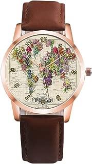 Sanwooden Kids Vintage Flower Grass Map Wrist Watch Faux Leather Band Analog Display Quartz Watch