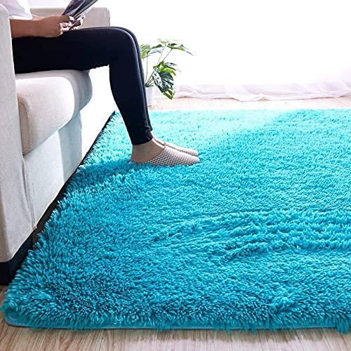 Alfombras Salon Grandes, Azul Peludo Peludo Cálido Encantador Alfombras Rectangulares con Estampado 3D, Alfombrilla Interior Lavable Antideslizante para La Decoración De La Sala De Es,80 * 120cm