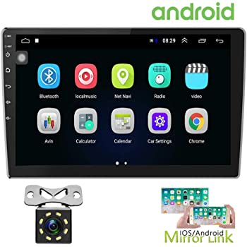 Hikity 10.1 Inch Android Car Stereo with GPS Double Din Car Radio Bluetooth FM Radio Receiver Support WiFi Connect Mirror Link for Android/iOS Phone + Dual USB Input & 12 LEDs Backup Camera
