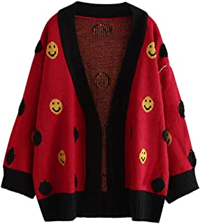 Sweater Coat for Womens Smile Printing Knitting Cardigan Tops Ladies Winter Warm Long Sleeve Shirts Sweater Coat