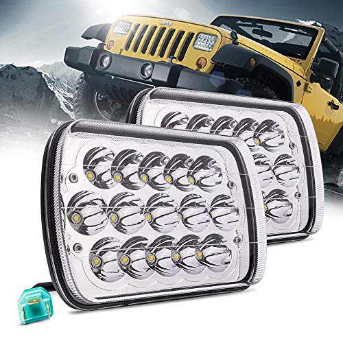 MICTUNING 2Pcs 5x7 7x6 Led Headlights Rectangular Hi Lo Led Sealed Beam H6054 6053 6052 5054 Headlamp Replacement for Jeep Wrangler YJ XJ MJ Chevy