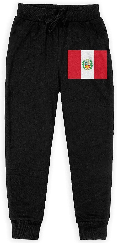 SORYBA Peru Flag Peruvian Boy's Sweatpants Jogger Pant Comfortable Jogger Pant