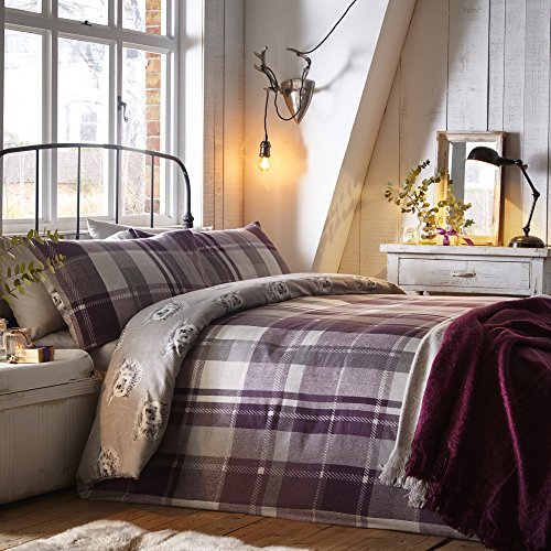 Dreams & Drapes Colville Check-100% Brushed Duvet Cover Set, 100% Cotton, Plum, King Bed