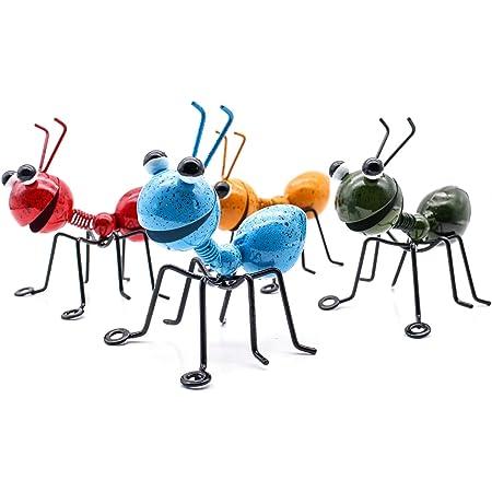 YiYa Fourmi en métal Un Groupe de 4 Couleurs Insecte Mignon pour accrocher Mur Art Jardin pelouse décor intérieur extérieur Sculptures murales
