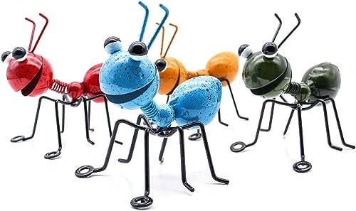 YiYa Hormiga de Metal un Grupo de 4 Insectos Lindos Coloridos para Colgar Arte de la Pared decoración de césped de ja...