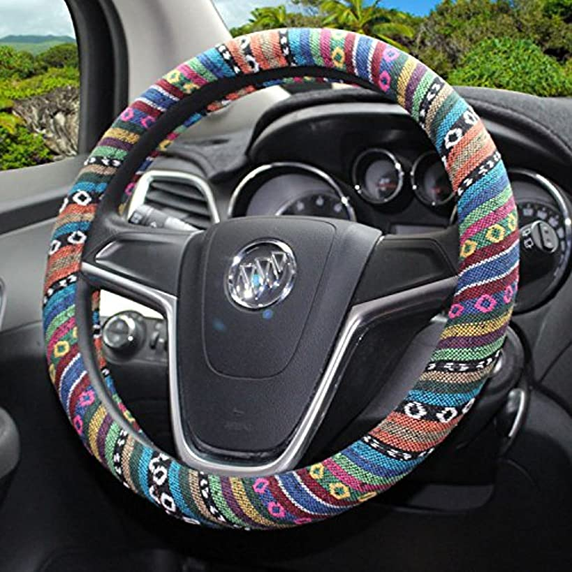 Follicomfy Automotive Steering Wheel Cover Ethnic Style Flax Anti-Slip Sweat-absorbent Wrap Cover Fit