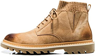 Xujw-shoes store, 2019 Mens New Lace-up Flats Socks Collar Ankle Boots for Men Work Boots Lace Up Soft Durable Comfortable Leather Round Toe Burnished Style Stitch Soft Anti-Skid Lug Sole Brown