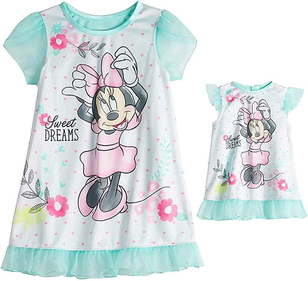 Minnie Mouse Toddler Girl Sweet Dreams Floral Nightgown with Doll Gown
