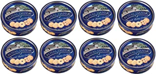 Royal Dansk 81997 Danish Butter Cookies (Pack of 8), Blue Flat Display, Reusable Classic Tin Filled, Made of Real Butter, No Preservatives or Coloring Added, Net Weight 12 Ounce (340 gr)