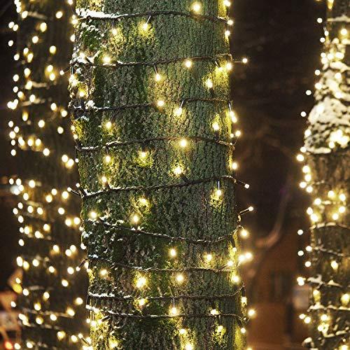 1 * 100 LED Guirlande lumineuse IP44 Etanche blanc froid 8M Lumières féériques pr Fête de Noël Jardin Chambre Terrasse (Blanc chaud) (Chaud, 3) (Chaud, lot x1)