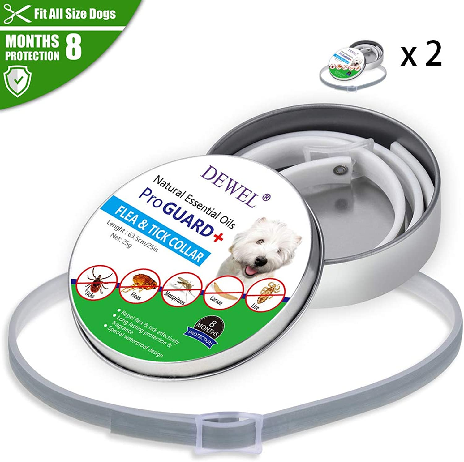 Anti Flea and Tick Collar for Dogs & Cats,Repellent Pest Control CollarsNatural Plant Essential Oil Formula 8 Months Predection,Adjustable 25  Length for Small Medium Large Pets