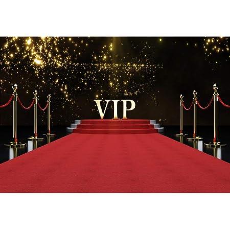 YongFoto 3x2m Vinyle Toile de Fond VIP Tapis Rouge de scène Taches de Paillettes d'or pour événement de Mariage d'anniversaire Photographie Toile de Fond Photobooth Fond de Photo Studio Fête