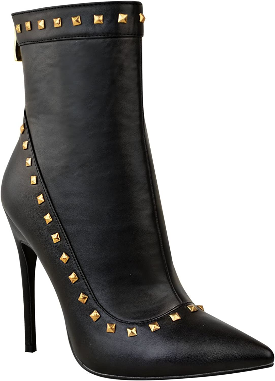 Fashion Thirsty Womens Studded Ankle Boots Black Stiletto High Heels Pointed shoes Size