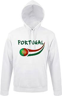 supportershop Sweat volwassen capuchon wit Portugal voetbal