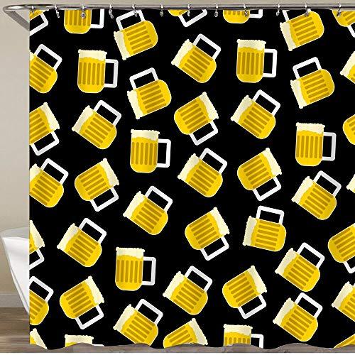 MATEKULI Cortinas de Ducha,Jarra de Cerveza con Espuma sobre un Fondo Negro Vector de Patrones sin Fisuras,Impermeable Cortinas Baño y Lavables Cortinas Bañera 180x180CM
