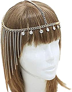 Yean Fashion Crystal Headpiece Tassel Headband Forehead Jewelry for Women and Girls (Silver)