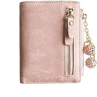 Women's Rfid Small Bifold Leather Wallet Ladies Mini Zipper Coin Purse id card Pocket,Slim Compact Thin