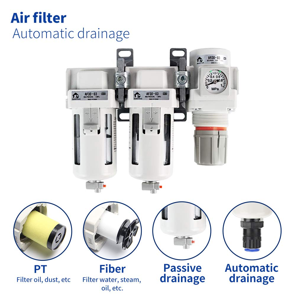WINSFISH 3//8 NPT Air Compressor Filter Regulators Double Air Filters Semi-Auto Drain Automatic Drainage Air Compressor Regulator Combo Professional Water Seperators for Air Compressors