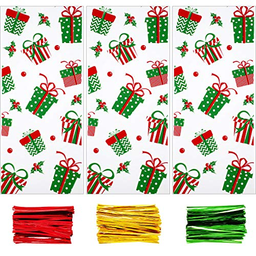 Boao 100 Pieces Christmas Cellophane Bags Christmas Treat Bags Goodies Bags with 150 Pieces Twist Ties for Christmas Party Supplies
