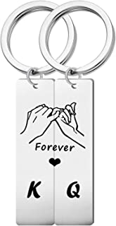 Couples Gift Keychain Cute Mini Matching Promise Key Ring King Queen Forever Love Heart Jewelry for Him Her Girlfriend Boy...