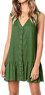 Gahrchian Women Dress V Neck Button Dress Sleeveless Party Dress Ruffle Beach Dress Office Work Skirts Dress