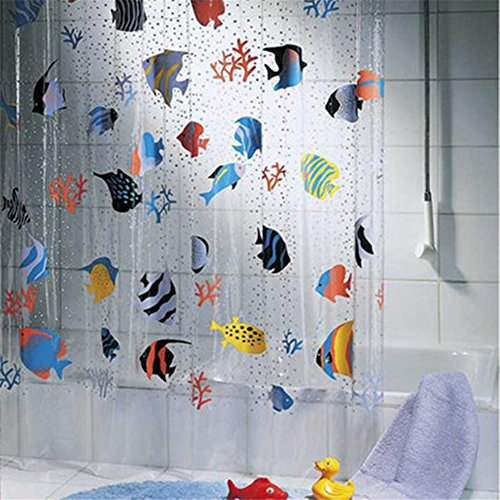 GUANYUAN TOYS 72x78Inch Waterproof Transparent PVC Shower Curtains with 12 Hooks,Colorful Printing Underwater World Tropical Fish Bathroom Shower Curtains,Bath Screens