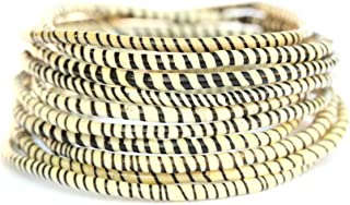 10 White with Black Recycled Flip-Flop Bracelets Hand Made in Mali, West Africa