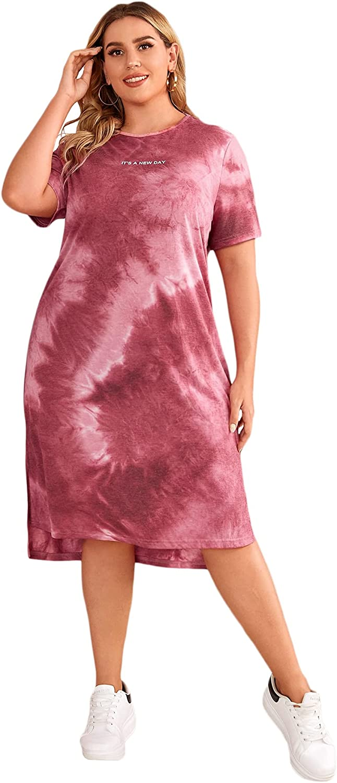 Milumia Women's Plus Size Casual Tie Dye Short Sleeve Slit Midi Tee Shirt Dress