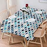 Wachstuch Tischdecke 140x200 cm,Moderne, geometrische Kreise mit halbrundem Quadrat in den Blautönen,Rechteckige Tischabdeckung Gartentischdecke für Gastronomie, Feste, Party, Hochzeiten oder Haushalt