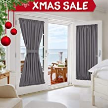 NICETOWN Grey French Door Curtains - Blackout Patio Door/Glass Door Window Curtain Panel for Privacy (1 Piece, W54 x L72 inches, Grey)