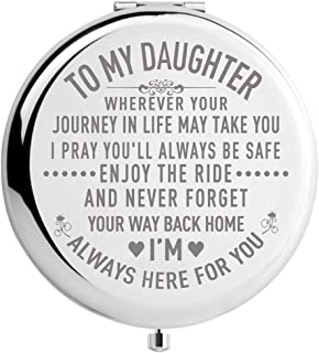 Daughter Gifts from Mom and Dad on Wedding Day, Graduation Gifts for Her, Birthday Gifts for Girls, Engraved Makeup Mirror (Mir-Daughter-Journey))