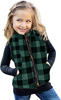 Ivay Girls Buffalo Cotton Plaid Quilted Vest Cute Puff Lined Gilet Green
