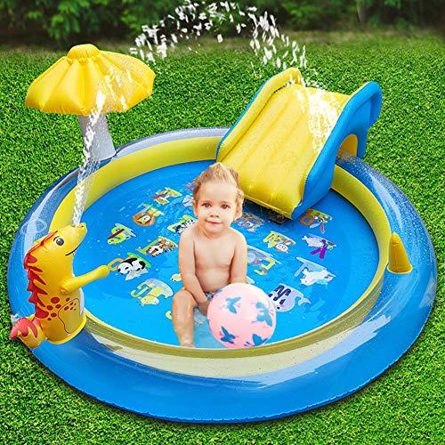 Piscina Hinchable Infantil con Tobogan, Centro de Juegos Hinchable Agua,Castillo Hinchable para Niños, Piscina Infantil con Rociador de Agua Dolphin Spray, 200 * 200 * 100cm